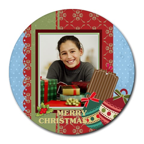 Christmas By Merry Christmas   Round Mousepad   Xuw4g6eavcio   Www Artscow Com Front