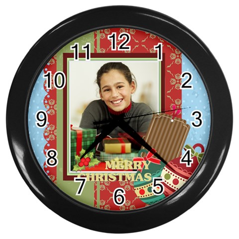Christmas By Merry Christmas   Wall Clock (black)   Abkjinr6008b   Www Artscow Com Front