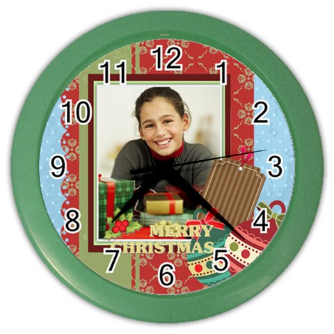 Christmas By Merry Christmas   Color Wall Clock   A4njnp8y7oi6   Www Artscow Com Front