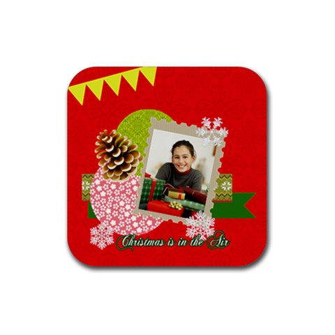 Christmas By Merry Christmas   Rubber Square Coaster (4 Pack)   20xj383ycsml   Www Artscow Com Front