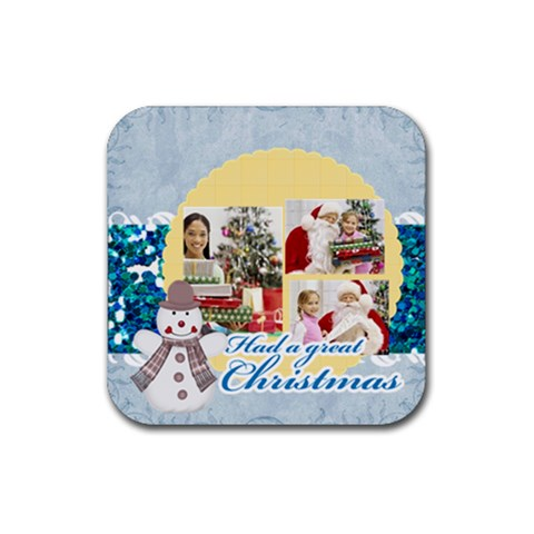 Christmas By Merry Christmas   Rubber Square Coaster (4 Pack)   Kncry5m9k9py   Www Artscow Com Front
