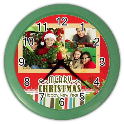 Christmas By Merry Christmas   Color Wall Clock   Mlmtzewfyt7y   Www Artscow Com Front