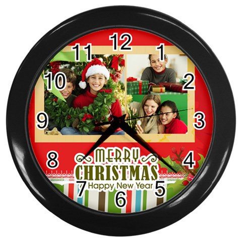 Christmas By Merry Christmas   Wall Clock (black)   6egudl5evril   Www Artscow Com Front