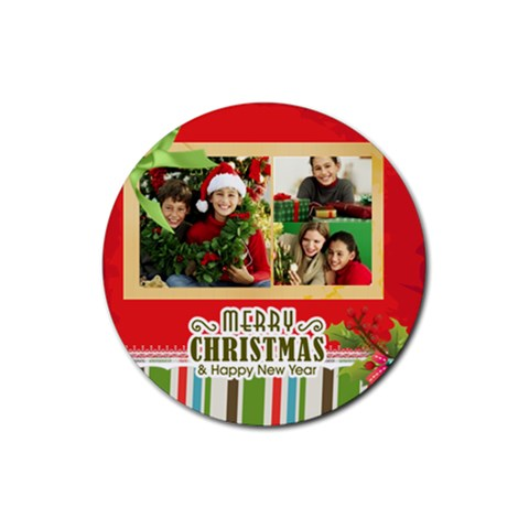 Christmas By Merry Christmas   Rubber Round Coaster (4 Pack)   Rjlsbwmd6nus   Www Artscow Com Front