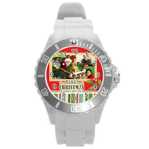 Xmas By Merry Christmas   Round Plastic Sport Watch (l)   46x4wprrlcn9   Www Artscow Com Front