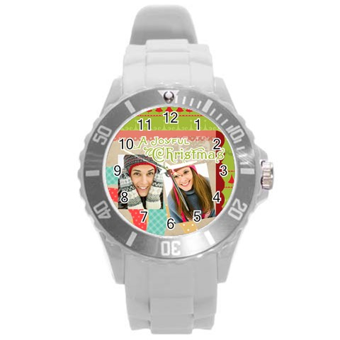 Xmas By Merry Christmas   Round Plastic Sport Watch (l)   A43wn4mkihsq   Www Artscow Com Front