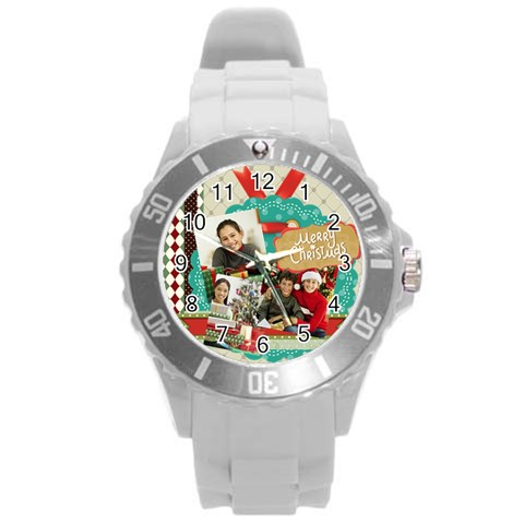 Xmas By Merry Christmas   Round Plastic Sport Watch (l)   Lw32yry7j158   Www Artscow Com Front