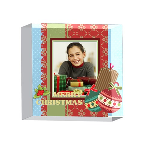 Merry Christmas By Merry Christmas   4 x 4  Acrylic Photo Block   Vwoe1s5brxay   Www Artscow Com Front