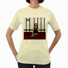 Baby In The Jail  Womens  T Shirt (yellow)