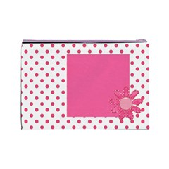 Basix Pink Large Cosmetic Bag By Lisa Minor   Cosmetic Bag (large)   Lw6dqgg1h32k   Www Artscow Com Back