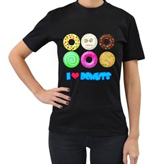 I Heart Donuts Womens' Two Sided T Shirt (black)
