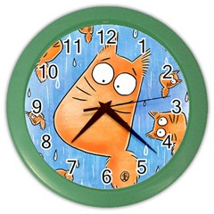PookieCat clock Wall Clock (Color) by PookieCatWorld