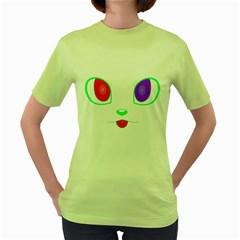 Cat Eyes Womens  T Shirt (green) by Contest1422604