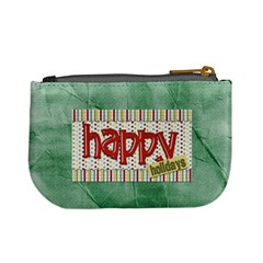Happy Christmas Coin Bag By Lisa Minor   Mini Coin Purse   F8scbns3qt6w   Www Artscow Com Back