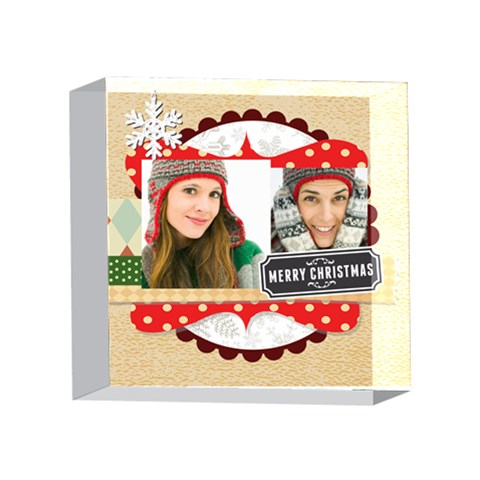 Merry Christmas By Merry Christmas   4 x 4  Acrylic Photo Block   Abnvczvd2sbv   Www Artscow Com Front