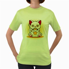 Maneki  grumpy  Neko Womens  T Shirt (green)