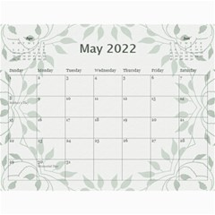 Nature Green 12 Month Wall Calendar By Lil    Wall Calendar 11  X 8 5  (12 Months)   D3oxkd5706s5   Www Artscow Com May 2019