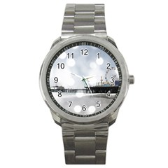 Grey Sparkling Santa Monica Pier Sport Metal Watch on Cowcow.com