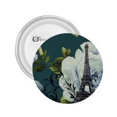 Blue Roses Vintage Paris Eiffel Tower Floral Fashion Decor 2 25  Button by chicelegantboutique
