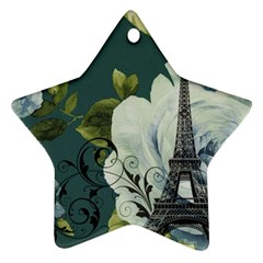 Blue Roses Vintage Paris Eiffel Tower Floral Fashion Decor Star Ornament by chicelegantboutique