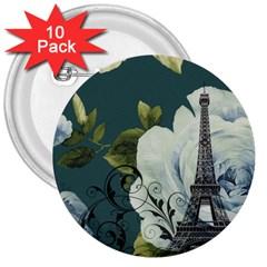 Blue Roses Vintage Paris Eiffel Tower Floral Fashion Decor 3  Button (10 Pack) by chicelegantboutique