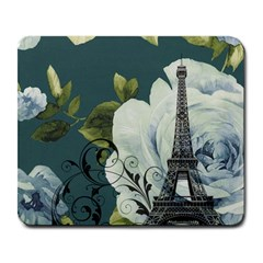 Blue Roses Vintage Paris Eiffel Tower Floral Fashion Decor Large Mouse Pad (rectangle) by chicelegantboutique