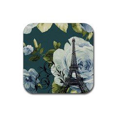 Blue Roses Vintage Paris Eiffel Tower Floral Fashion Decor Drink Coaster (square) by chicelegantboutique