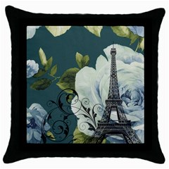 Blue Roses Vintage Paris Eiffel Tower Floral Fashion Decor Black Throw Pillow Case