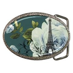 Blue Roses Vintage Paris Eiffel Tower Floral Fashion Decor Belt Buckle (oval) by chicelegantboutique