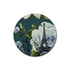 Blue Roses Vintage Paris Eiffel Tower Floral Fashion Decor Drink Coaster (round) by chicelegantboutique