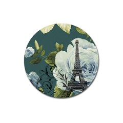Blue Roses Vintage Paris Eiffel Tower Floral Fashion Decor Magnet 3  (round) by chicelegantboutique