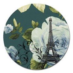 Blue Roses Vintage Paris Eiffel Tower Floral Fashion Decor Magnet 5  (round) by chicelegantboutique