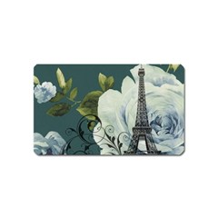 Blue Roses Vintage Paris Eiffel Tower Floral Fashion Decor Magnet (name Card) by chicelegantboutique