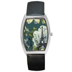 Blue Roses Vintage Paris Eiffel Tower Floral Fashion Decor Tonneau Leather Watch by chicelegantboutique