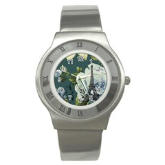 Blue Roses Vintage Paris Eiffel Tower Floral Fashion Decor Stainless Steel Watch (unisex) by chicelegantboutique