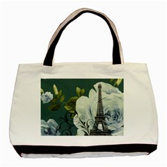 Blue Roses Vintage Paris Eiffel Tower Floral Fashion Decor Classic Tote Bag by chicelegantboutique