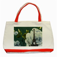 Blue Roses Vintage Paris Eiffel Tower Floral Fashion Decor Classic Tote Bag (red) by chicelegantboutique