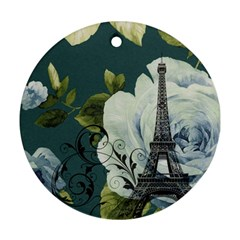 Blue Roses Vintage Paris Eiffel Tower Floral Fashion Decor Round Ornament (two Sides) by chicelegantboutique