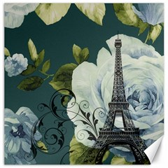 Blue Roses Vintage Paris Eiffel Tower Floral Fashion Decor Canvas 16  X 16  (unframed) by chicelegantboutique