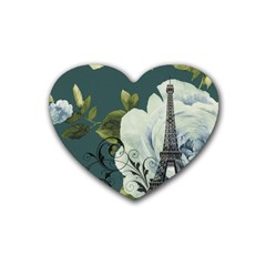 Blue Roses Vintage Paris Eiffel Tower Floral Fashion Decor Drink Coasters (heart) by chicelegantboutique