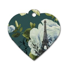 Blue Roses Vintage Paris Eiffel Tower Floral Fashion Decor Dog Tag Heart (two Sided) by chicelegantboutique
