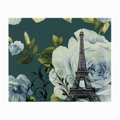Blue Roses Vintage Paris Eiffel Tower Floral Fashion Decor Glasses Cloth (small, Two Sided) by chicelegantboutique