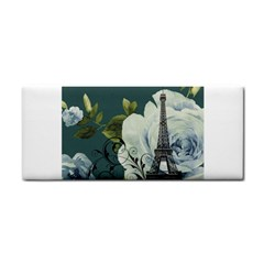 Blue Roses Vintage Paris Eiffel Tower Floral Fashion Decor Hand Towel by chicelegantboutique