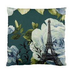 Blue Roses Vintage Paris Eiffel Tower Floral Fashion Decor Cushion Case (two Sided)  by chicelegantboutique