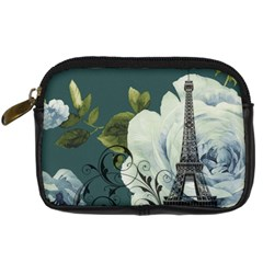 Blue Roses Vintage Paris Eiffel Tower Floral Fashion Decor Digital Camera Leather Case by chicelegantboutique
