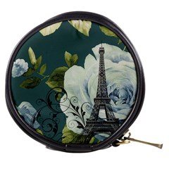Blue Roses Vintage Paris Eiffel Tower Floral Fashion Decor Mini Makeup Case by chicelegantboutique