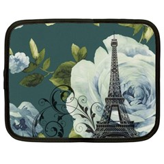 Blue Roses Vintage Paris Eiffel Tower Floral Fashion Decor Netbook Case (xl)