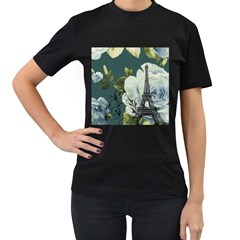 Blue Roses Vintage Paris Eiffel Tower Floral Fashion Decor Womens' T Shirt (black) by chicelegantboutique
