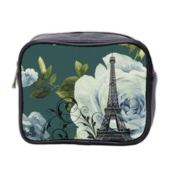 Blue Roses Vintage Paris Eiffel Tower Floral Fashion Decor Mini Travel Toiletry Bag (two Sides) by chicelegantboutique