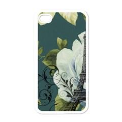 Blue Roses Vintage Paris Eiffel Tower Floral Fashion Decor Apple Iphone 4 Case (white) by chicelegantboutique